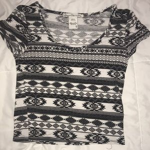 Tops - black and white tribal crop top